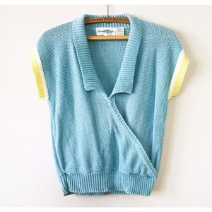 Vintage 80s Collared Short Sleeve Sweater L